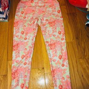 Lularoe Pink/mint/aqua Floral Legging